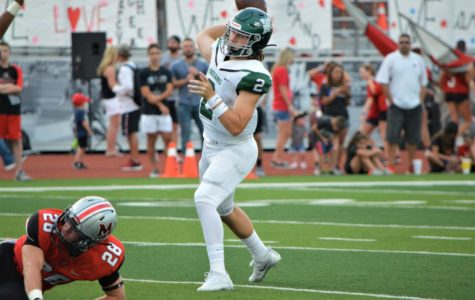 Indian quarterback Campbell Sullivan (2) makes a pass in the Indians' loss to Marcus on Sept. 13, 2019.