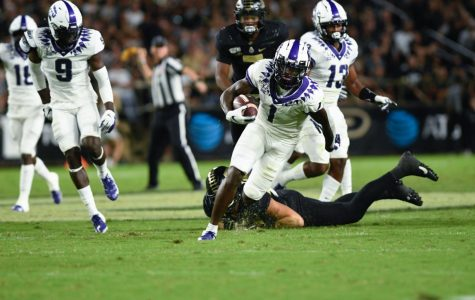 Former WHS wide receiver Jalen Reagor (1) in TCU's win over Purdue on Sept. 14, 2019.