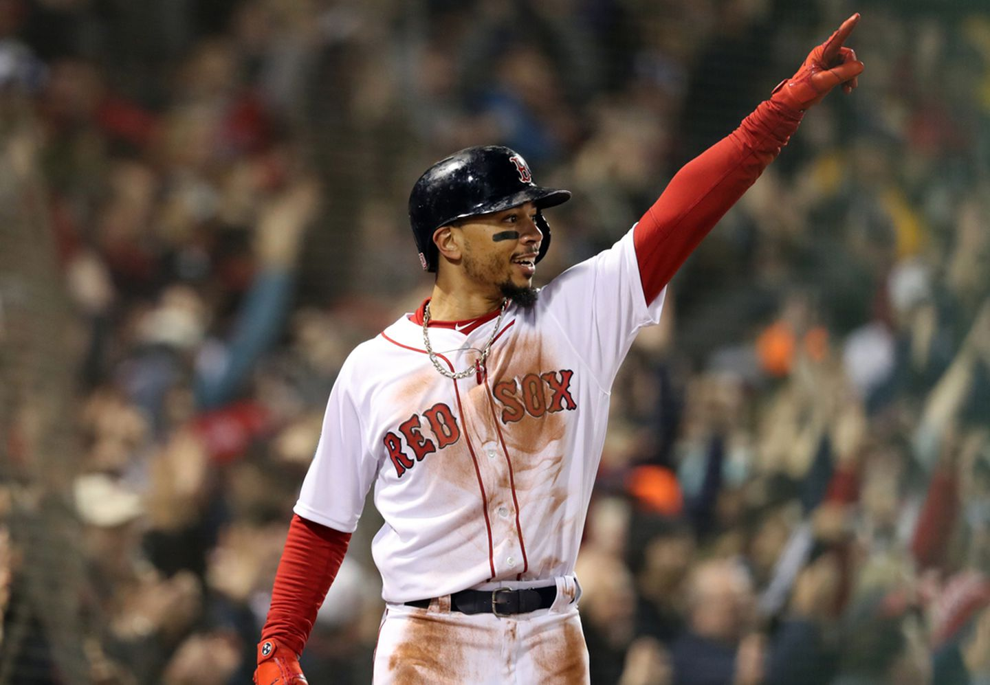 Mookie Betts of the Boston Red Sox in a game at Fenway Park in Boston. Betts was acquired by the Los Angeles Dodgers (along with David Price) in a trade on Feb. 10, 2020.