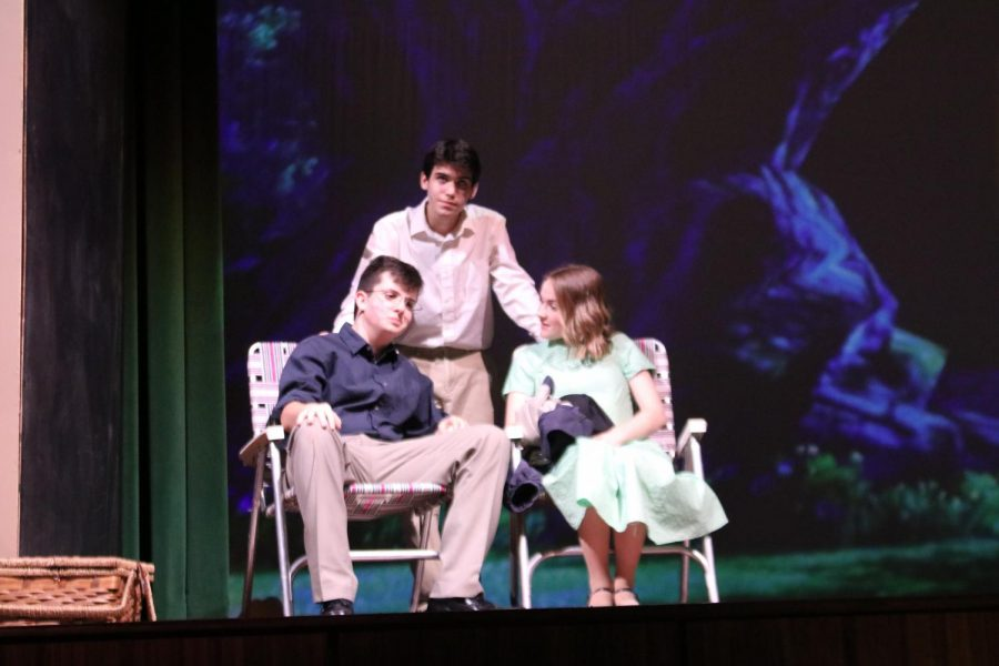 From left: Ben Barker (Edward Bloom), Adrian Rodriguez (Will Bloom), and Bailey Ballard (Josephine) in the WHS production of